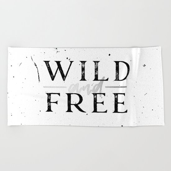 Wild and Free Silver on White Beach Towel