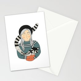 Girl and Raccoon. Stationery Cards