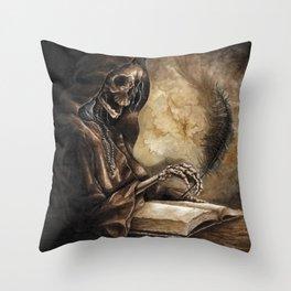 Skeleton Scribe Throw Pillow