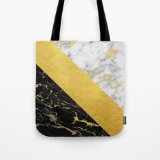 Marble Mix // Gold Flecked Black & White Marble Tote Bag