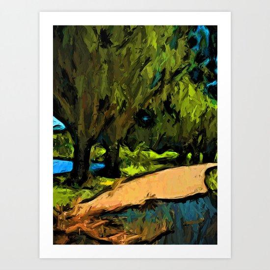 Trees along an Apricot Path Art Print