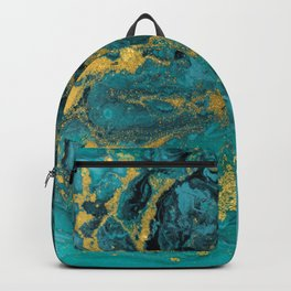 Abstract Pour Painting Liquid Marble Black Blue Teal Painting Gold Accent Backpack