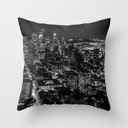 Seattle from the Space Needle in Black and White Throw Pillow