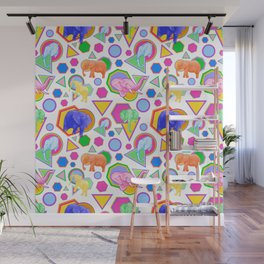 Cute Elephant Pattern - Bright Geometric Elephant Print Wall Mural