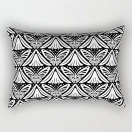 Butterfly and Flower Pattern Black & White 2 Rectangular Pillow