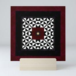Ruby Red Marble w/ Blk & White Geometrica Pattern Insert Mini Art Print