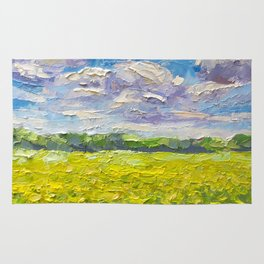 Original Oil and palette knife  painting on paper: The endless summer field of yellow flowers. Rug