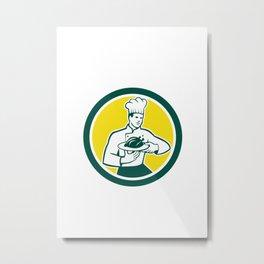 Chef Cook Serving Chicken Platter Circle Retro Metal Print