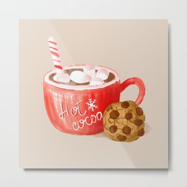 Hot Cocoa Mug and a Chocolate Chip Cookie, Retro Christmas Sweets Pattern, Hand-painted Watercolor Metal Print