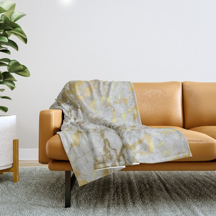 Gold marble Throw Blanket