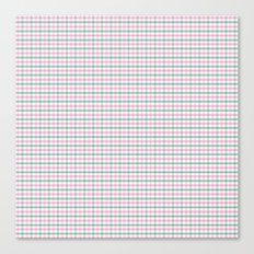Gingham pink and forest green Canvas Print