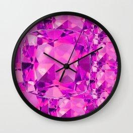 FUCHSIA PINK TOURMALINE FACETED GEMS  ART Wall Clock