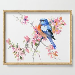 Bluebird and Cherry Blossom Serving Tray