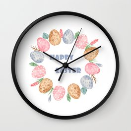 Happy Easter Wreath Colorful Eggs and Easter Flowers on White Wall Clock