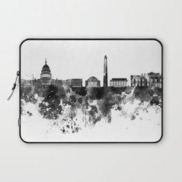 Washington DC skyline in black watercolor on white background  Laptop Sleeve