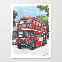 red bus in davis Canvas Print