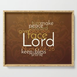Christian Priestly Blessing Word Art on Damask Serving Tray