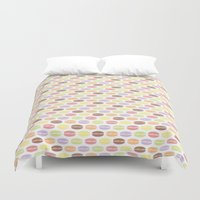 macaroons Duvet Covers featuring Macaroons by Rehan Butt