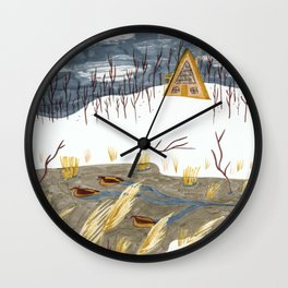 A-Frame Home in the Woods Wall Clock