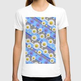DECORATIVE DIAGONAL PATTERN BLUE MODERN ART WHITE SHASTA DAISIES T-shirt