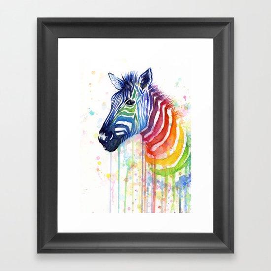 Zebra Watercolor Rainbow Animal Painting Ode to Fruit Stripes Framed Art Print