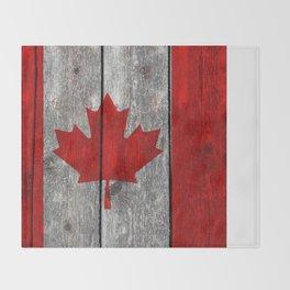 Canada flag on heavily textured woodgrain Throw Blanket