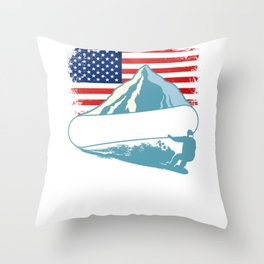 Snowboarding Athlete Winter Sports Throw Pillow