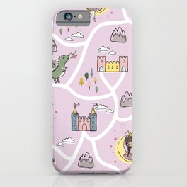 Childish seamless pattern with princess and dragon iPhone Case