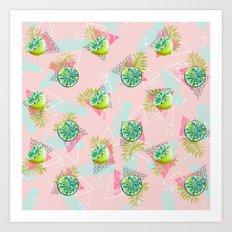 Tropical lemons party Art Print