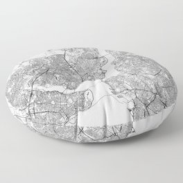 Istanbul White Map Floor Pillow