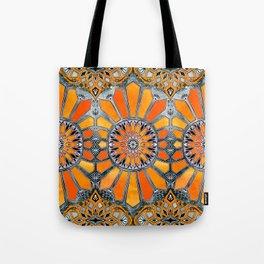 Celebrating the 70's - tangerine orange watercolor on grey Tote Bag