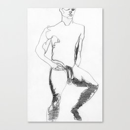 Male Nude Figure Drawing Study Canvas Print