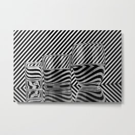 Stripes and glasses  Metal Print