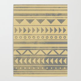 Ethnic geometric pattern with triangles circles and lines Poster