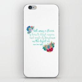 Jane Austen Quote - Flowers on White iPhone Skin
