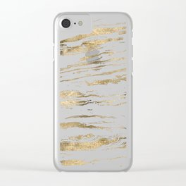 Gold abstract marbleized paint Clear iPhone Case