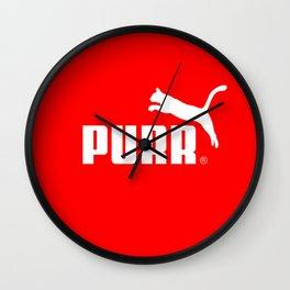 Purr - Puma logo parody Wall Clock