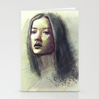 asian Stationery Cards featuring Asian girl by Ludovic Pinelli