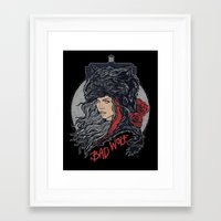 bad wolf Framed Art Prints featuring Bad Wolf by zerobriant