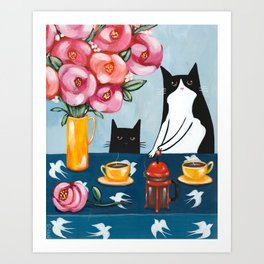Cats and French Press Coffee Art Print