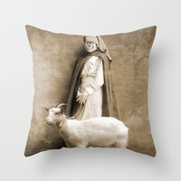 nurse Throw Pillows featuring the nurse by Seamless