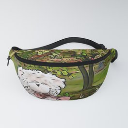Teddy bear by the pond in autumn Fanny Pack