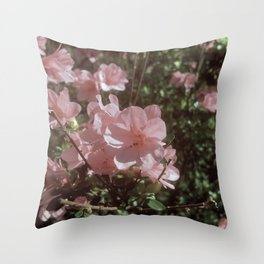 Happy Little Pink Flowers Throw Pillow