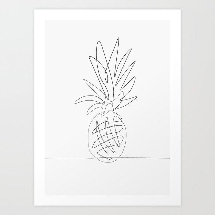 One Line Pineapple Art Print