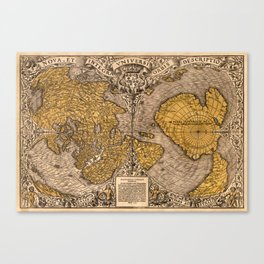 Vintage Illustration Of The Map Of The World Canvas Print