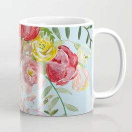 Bouquet of Watercolor on Blue Background Coffee Mug