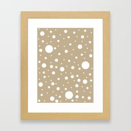 Mixed Polka Dots - White on Khaki Brown Framed Art Print