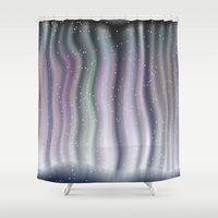 northern lights Shower Curtains featuring Northern Lights by Bonnie Phantasm