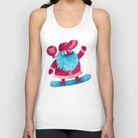 santa Tank Tops featuring Snowboard Santa by Lime