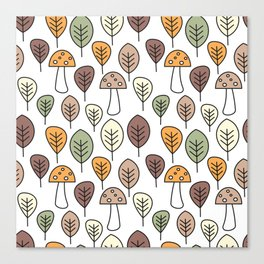 cute fall autumn colorful seamless pattern background with mushrooms and leaves Canvas Print